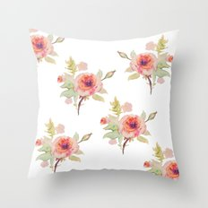 Pink rose -white background  Throw Pillow