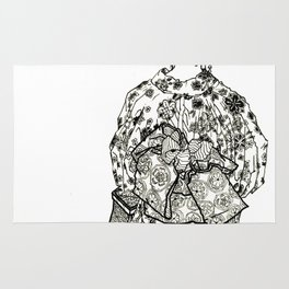 Geometric Black and White Drawing Japanese Yukata Kimono Rug