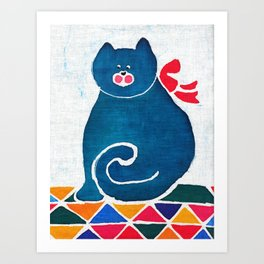 Cat with a red bow Art Print