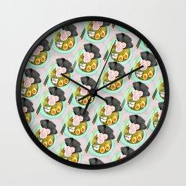 Ramen Cats Pattern Wall Clock