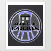 agents of shield Art Prints featuring Agents of TARDIS Doctor Who Agents of Shield Mash Up by Whimsy and Nonsense