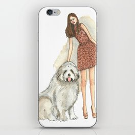 Fashionable Lady with a Bouvier in Watercolor and Ink iPhone Skin