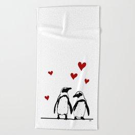 Love Penguins Beach Towel