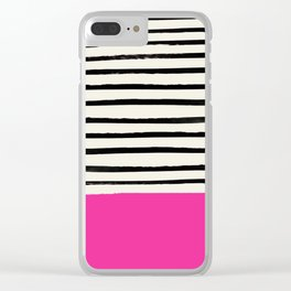 Bright Rose Pink x Stripes Clear iPhone Case