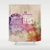 las vegas Shower Curtains featuring Las Vegas skyline art by jbjart