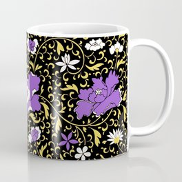 Nonbinary Pride Floral Tapestry Pattern Coffee Mug