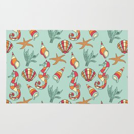 Ocean Seashell & Seahorses Seamless Pattern Bathroom \ Bedroom Decor Rug