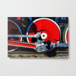 Vintage Steam Engine Locomotive Driving Wheel Eccentric And Rods Metal Print
