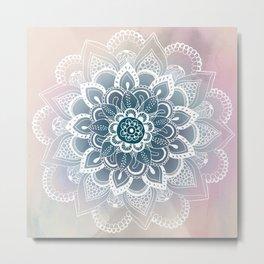 Winter Fountain Mandala Metal Print