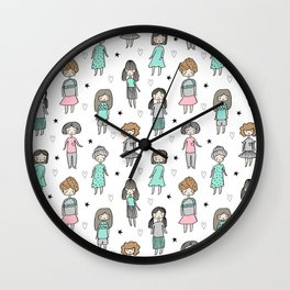 Girls illustration little women cute pattern kids rooms children gifts Wall Clock
