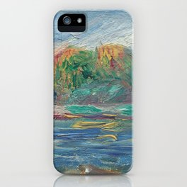 The Blue River Oil Painting by Auguste Renoir iPhone Case