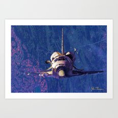 Space shuttle orbit Art Print
