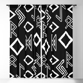 Runic pattern black and white Blackout Curtain