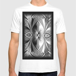 Abstract Peacock. Black+White. T-shirt