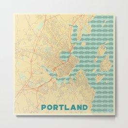 Portland Maine Map Retro Metal Print