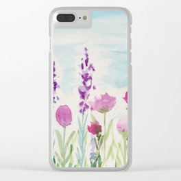 Watercolor Wildflower Landscape Clear iPhone Case