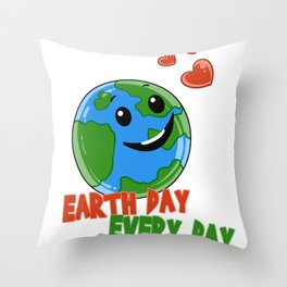 Cute Earth Day Every Day print Throw Pillow