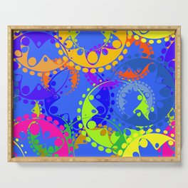 Texture of bright colorful gears and laurel wreaths in kaleidoscope style on a blue background. Serving Tray