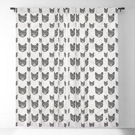 Swirly Cat Portrait (b/w) Blackout Curtain