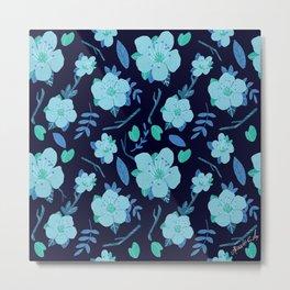Dreamy blue almond blossom pattern Metal Print