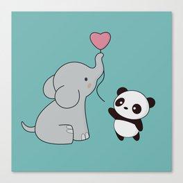 Kawaii Cute Elephant and Panda Canvas Print