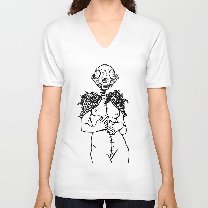 Crazy Cat Lady Skeleton Winged Surreal Figure Unisex V-neck by Mromano VNT7609481