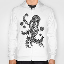 Jellyfish Black & White Doodle Art Hoody