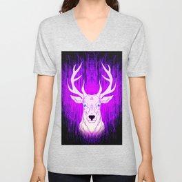 Patronus in the dark. Deer stag in glowing pink light. Unisex V-Neck