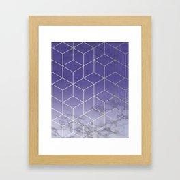 Geometric Marble Ultraviolet Purple Gold Framed Art Print