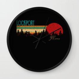 Lockport Retro Vintage Custom Funny 80s 90s Wall Clock