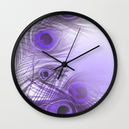 Modern purple lilac abstract peacock feathers gradient Wall Clock