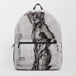 Saint - Charcoal on Newspaper Figure Drawing Backpack