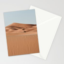 Erg Chebbi Dunes Palmtree, Maroccan Desert Landscape. Merzouga, Marocco.  Stationery Cards