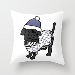 Cute dog wearing a hat and winter sweater Throw Pillow