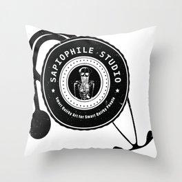 Sapiophile Studio Logo Skeleton Stethoscope Throw Pillow