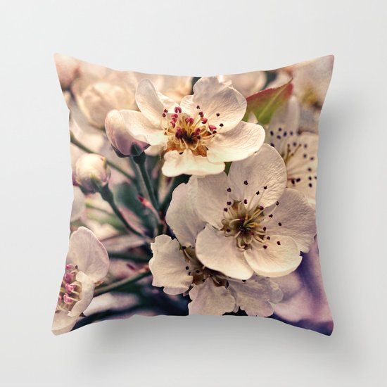 Blossoms at Dusk - vintage toned & textured macro photograph Throw Pillow