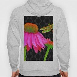 Flower Pop, floral Pop Art Echinacea, dragonfly Hoody