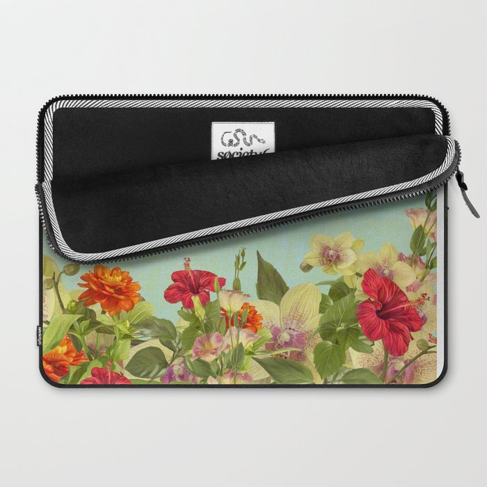 Realistic flowers sky and clouds - digital painting Laptop Sleeve