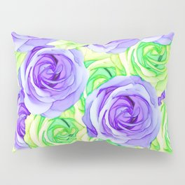 purple rose and green rose pattern abstract background Pillow Sham