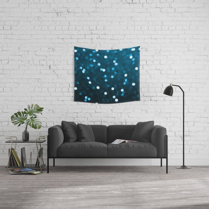 Cyan Blue Sparkly Bokeh Wall Tapestry