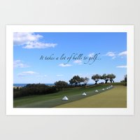 golf Art Prints featuring Golf by Rebecca Bear
