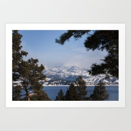 Snow Capped Mountain Pine Tree Lined Lanscape Colored Canvas Wall Art Print Art Print