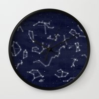 constellations Wall Clocks featuring Constellations by Fernanda Schallen