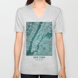 Turquoise Teal Wall Art Showing Manhattan New York City, Brooklyn and New Jersey Unisex V-Neck