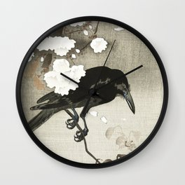Raven on Cherry tree - Japanese vintage woodblock print Wall Clock