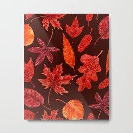 Autumn leaves watercolor Metal Print