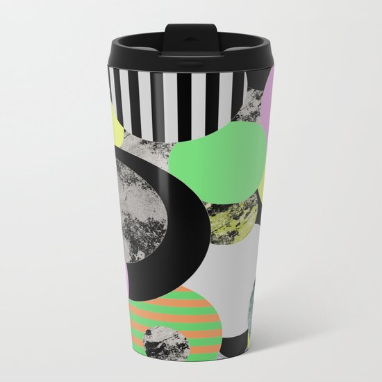 Cluttered Circles - Abstract, Geometric, Pop Art Style Metal Travel Mug