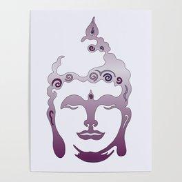 Buddha Head violet - grey Poster