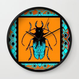 Black Turquoise Stag horn Beetle Western Art Abstract Wall Clock