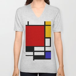 Piet Mondrian - Composition with Red, Yellow, and Blue 1942 Artwork Unisex V-Neck